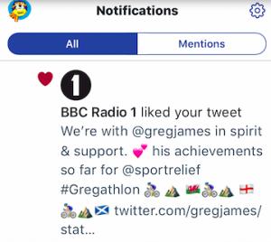 BBC Radio 1 Tweet